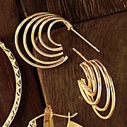 14K Gold 5-Row Round Wrap Post Earrings