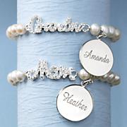 silvertone crystal faux pearl name bracelet