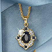 black sapphire oval pendant