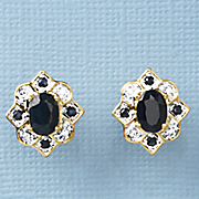 black sapphire oval medallion earrings