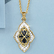 black sapphire scroll pendant