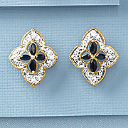 black sapphire scroll earrings