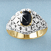 black sapphire oval ring