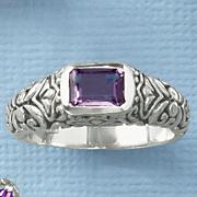 Amethyst Emerald-Cut Scroll Ring