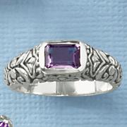 amethyst emerald cut scroll ring