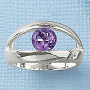 amethyst round bezel ring
