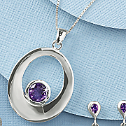 amethyst oval round pendant
