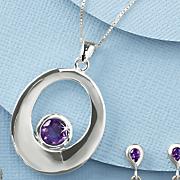 amethyst oval round pendant