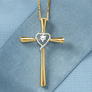 white sapphire two tone cross and heart pendant