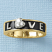 white sapphire tri color love ring