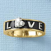 white sapphire tri color love ring