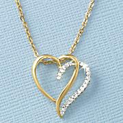 white sapphire open double heart pendant