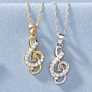 10k gold diamond treble clef pendant