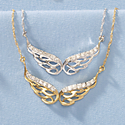 10k gold diamond angel wings pendant