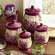 Set of 4 Grape Vineyard Canisters