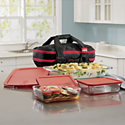 9 pc  portable bakeware set with double decker travel bag by pyrex