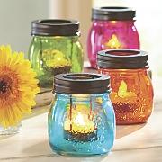 set of 4 glass mason jar tealights