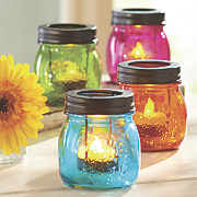 set of 4 glass mason jar tealights