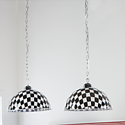 black and white checkerboard pendant