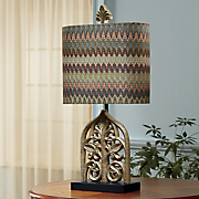 multicolor chevron table lamp