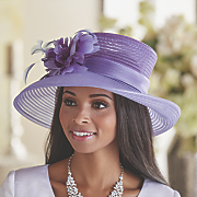wide brim hat with feather flower