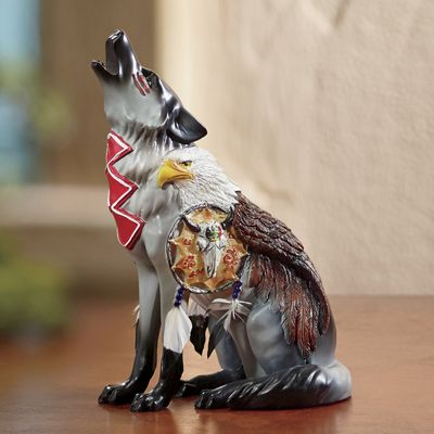 Hand-Painted Call of The Wolf Under Eagles' Wings Figurine