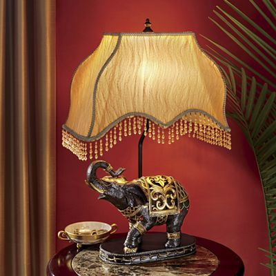 Elephant Table Lamp with Hanging Beads