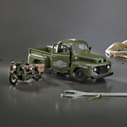 harley davidson 1942 military wla flathead with 1948 ford f1 pickup