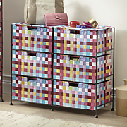 pretty pixels 6 drawer woven organizing bin