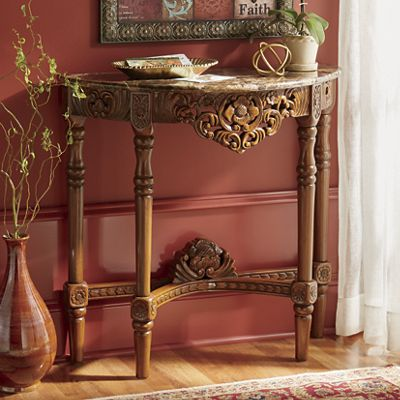 Faux Marble Carved Console