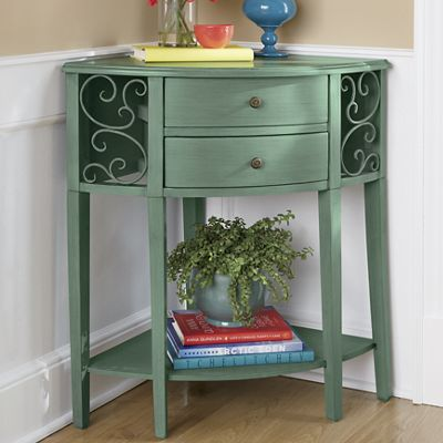 Corner console table with drawers from through the country for Sofa table with drawers and doors