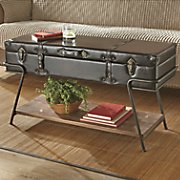 Faux Leather Storage Trunk Coffee Table