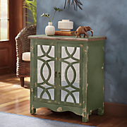 2 door green distressed geo front cabinet