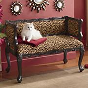 leopard upholstered carved bench