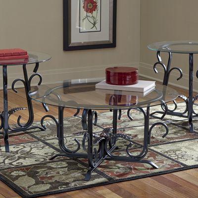 3-Piece Glass Top Golden Leaf Table Set