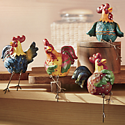 4-Piece Rooster Shelf Sitter Set