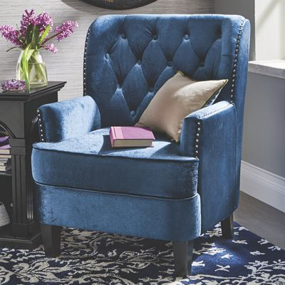 Madison Tufted Nailhead Chair From Midnight Velvet Vv738567
