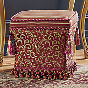 storage ottoman with tassels