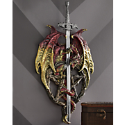 red dragon wall plaque with sword
