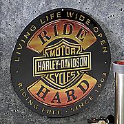 Ride Hard Round Sign by Harley Davidson