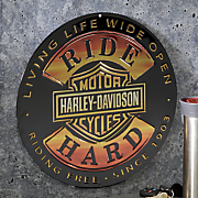 ride hard round sign by harley davidson