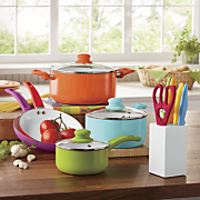 14 pc  assorted color cookware set by seventh avenue