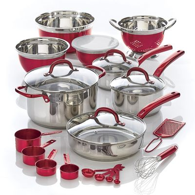 23-Piece Metallic Total Kitchen Cookware Set by Seventh Avenue