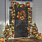 lighted fall apple and pine decor