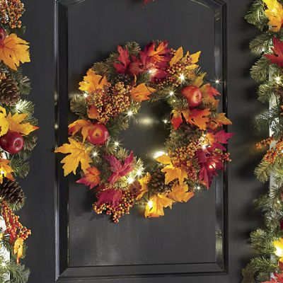 Lighted Fall Apple and Pine Wreath