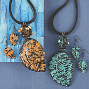 fall leaves necklace earring set