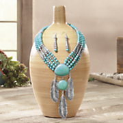 faux turquoise feathers necklace earrings set