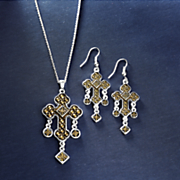 cross necklace earrings set