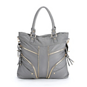 zipper detailed tote bag