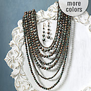 beaded multistrand necklace and earring set
